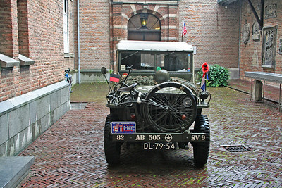 Army vehicle on display - parked in the Old Town Hall courtyard