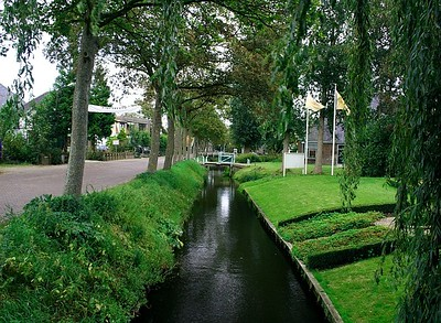 Canal between the road and houses.