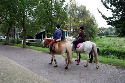Girls walking horses at Zaanse Schans