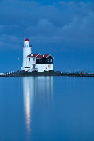 Lighthouse Paard van Marken at twilight, North Holland, Netherlands