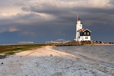 Lighthouse Paard van Marken at sunset, North Holland, Netherlands