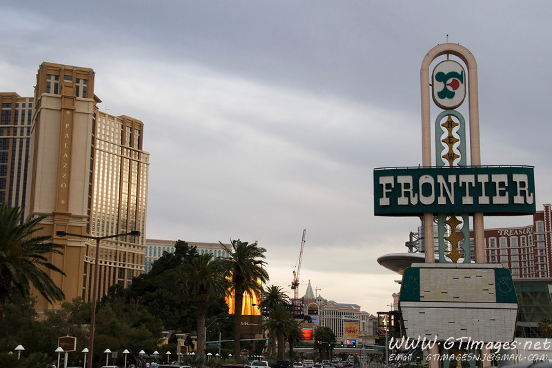 New Vegas meets old Vegas. The Frontier was torn down in November 2007, to make way for a Palace Casino (the same group that owns the palace hotel in NYC.). The Frontier was the site of Elvis Presley's first Las Vegas show in 1956. Many people were sad to see it go.