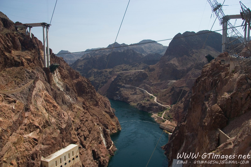From the top of the Hoover Dam. The construction is for a highway bypass, a security outcome from 9/11.