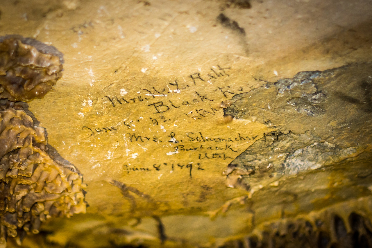 Hot Candle Wax Graffiti from 1892 in Lehman Caves, Great Basin National Park, Nevada - April 2016
