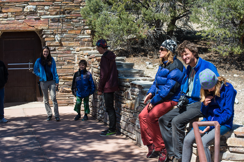 Tour group outside of Lehman Caves in Great Basin National Park, Nevada - April 2016