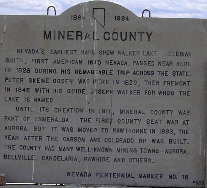 Historical info regarding Mineral County, Nevada.  Located near county seat of Hawthorne.