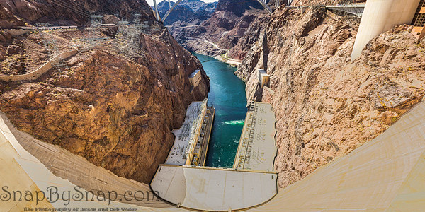 Panorama looking down the Colorado River from the Hoover Dam