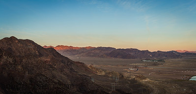 Morning Desert Landscape with electrical power transmission towers