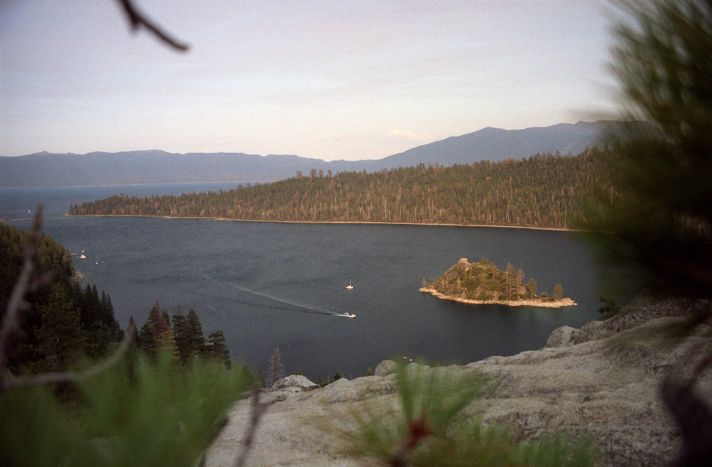 Lake Tahoe<br /> Brown cast due to smoke from large forest fire nearby