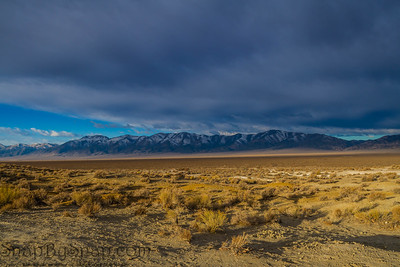 Snowcapped mountains across a valley in Nevada