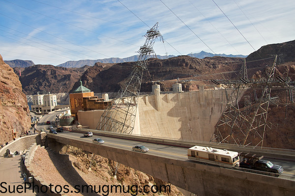 The Hoover Dam and the highway