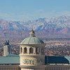 Detail of the Bellagio hotel and the mountains beyond in winter. Las Vegas, Nevada, United States