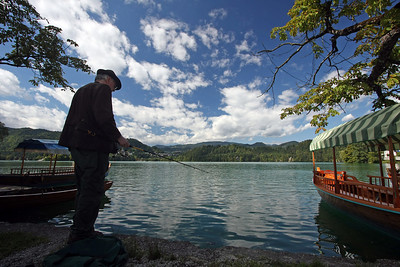 Fishing in Bled Lake, Slovenia