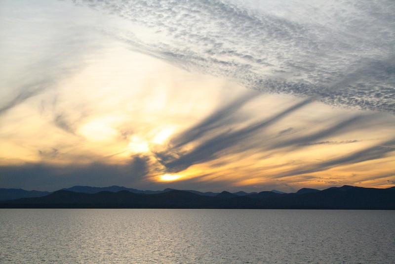 Sunset over Lake Champlain.