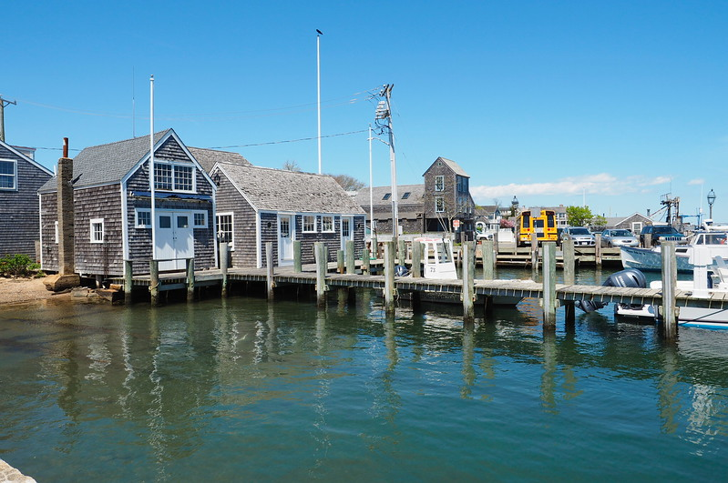 Shaker buildings along the coast of Cape Cod.