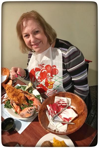 Lynn ready to enjoy Stuffed Baked Lobster