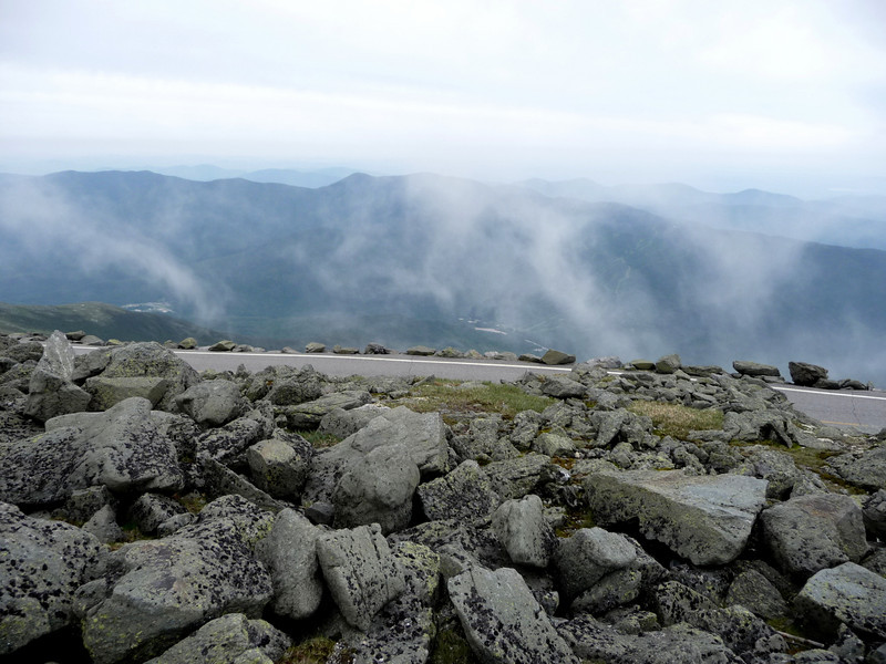 The clouds would roll over the summit and down the side.