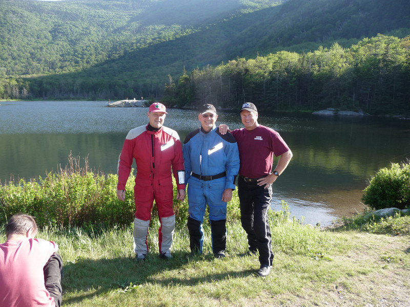 Tom, Glenn and Craig take a breather at a picturesque lake near Laconia in NH.