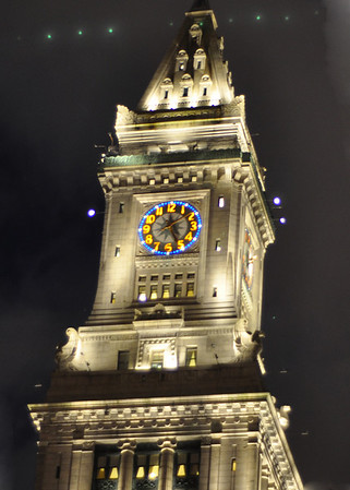 The clock all light up at night - beautiful!