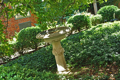 A birdbath in the middle of the garden