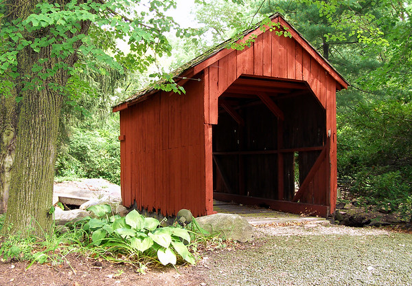 Covered bridge in a Connecticut forest