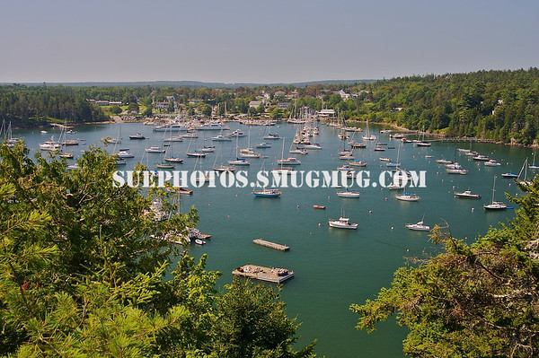 Looking down across the harbor and its many boats from Asticou Terraces, Northeast Harbor, Maine