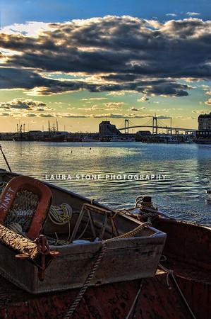 Newport, Rhode Island. Newport Bridge in distance.