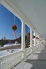 Porch of the Omni Mount Washington Hotel in winter. Bretton Woods, New Hampshire