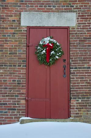 Christmas Wreath on Colonial Schoolhouse Door