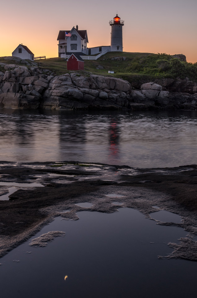 Moonrise Reflection at Dawn, Nubble Light, York Maine