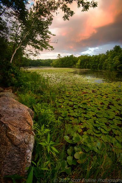 Sunset, Clearing Storm, Silver Lake, Grafton Ma