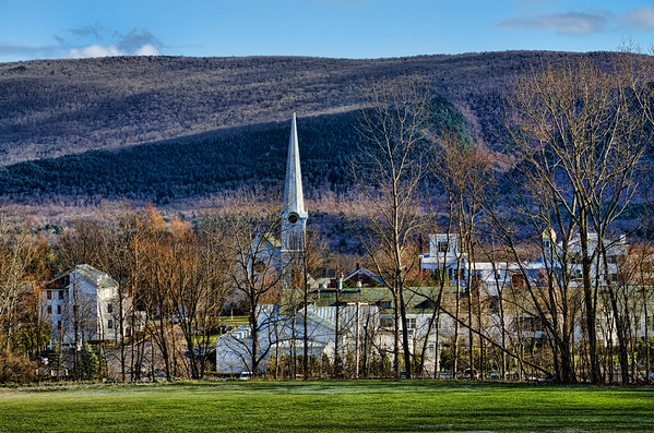 Skyline view of the town of Manchester, Vermont