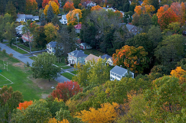 A view of a street in Greenfield, from the top of the Poet's Seat Tower.