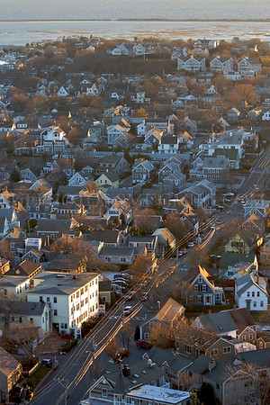 A view of Provincetown from the top of the Pilgrim Monument