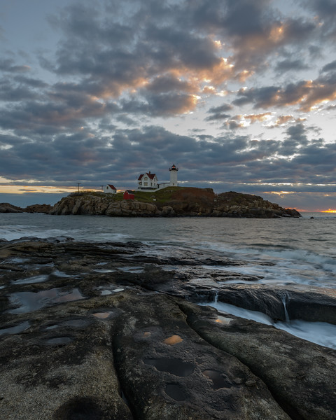 Clearing Storm, Sunrise, Nubble Light, York, Maine