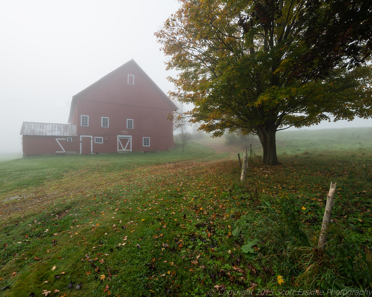 Morning Fog, Red Barn, Maple, Stowe, Vt