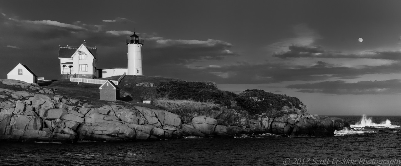 Moonrise, Nubble Light, York, Maine