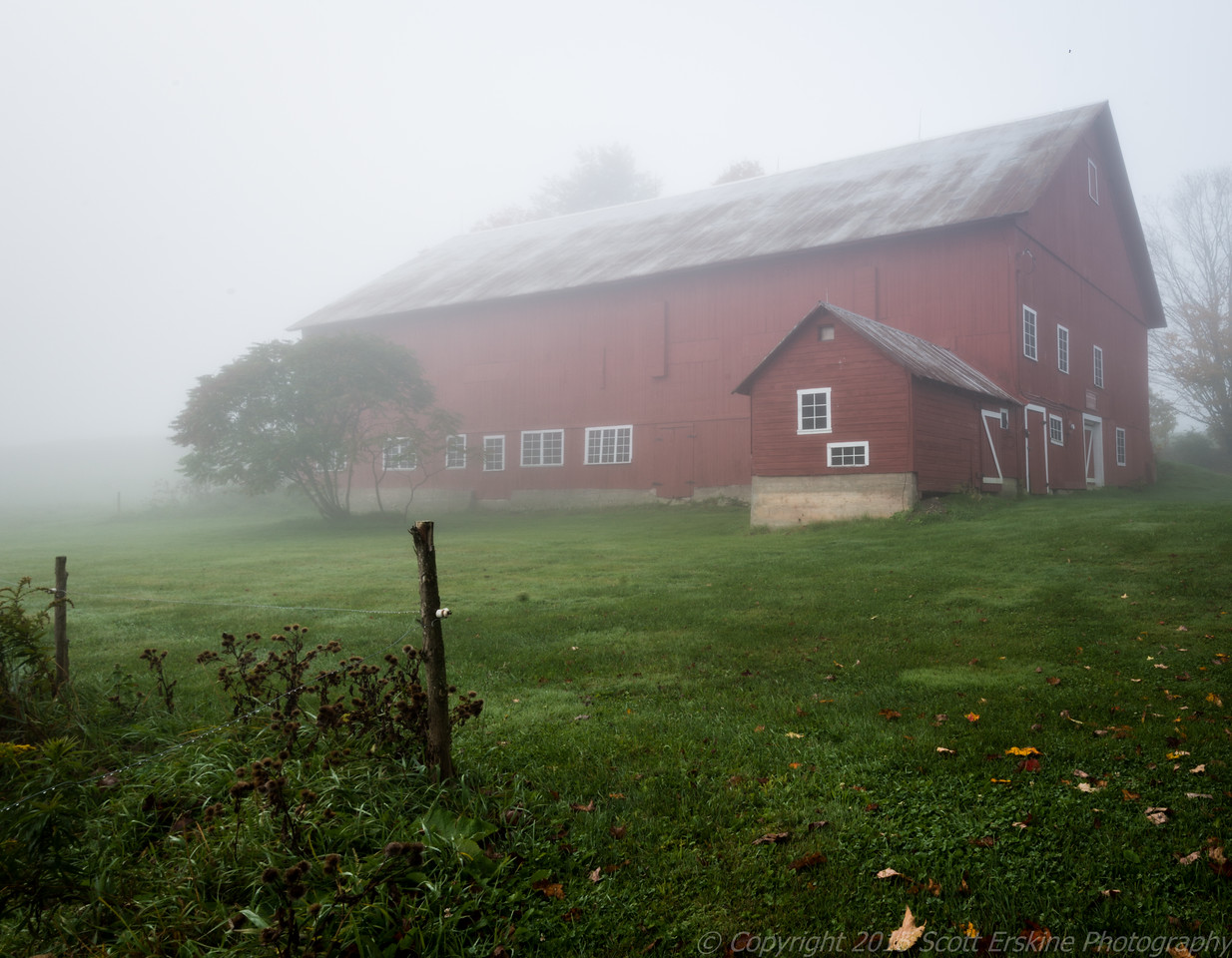 Red Barn, Early Morning Fog, Stowe VT.