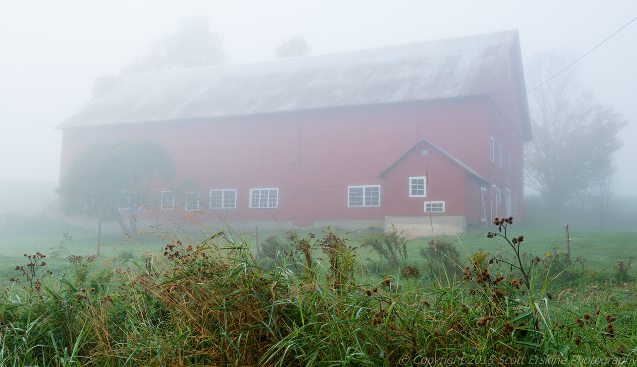 Red Barn in Fog, Stowe, Vt