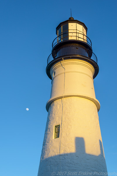 Moonrise, Sunset, Portland Head Lighthouse, Cape Elizabeth Me,