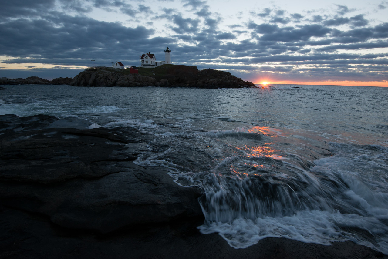 Sunrise Surf, Nubble Light, York Maine