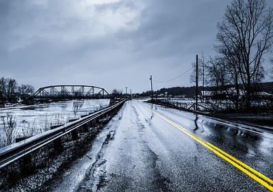 Rainy road in Jay Peak, Vermont