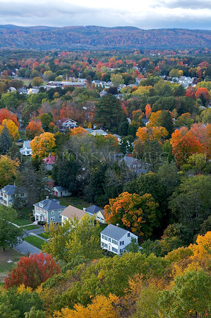 An autumn view from the top of Greenfield's Poet's Seat Tower.