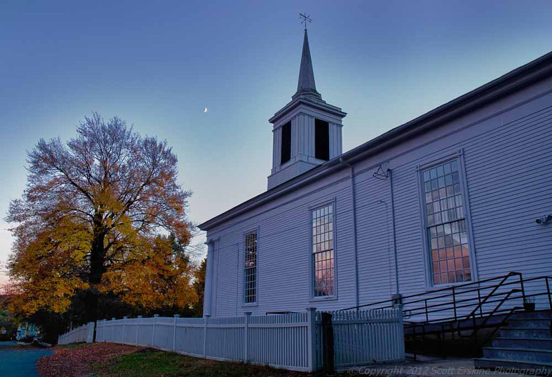 Federated Church, Sunset, Moonrise, Blackstone, MA