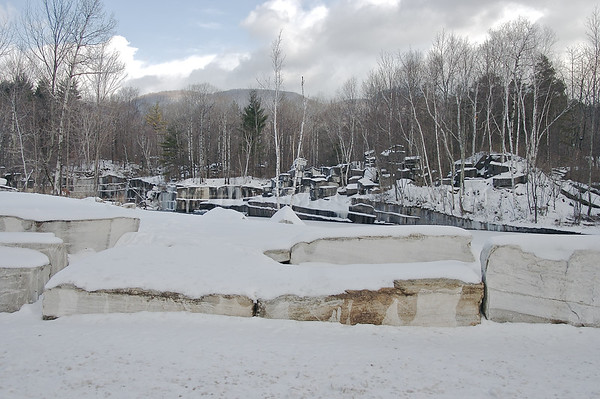 North America, USA, Vermont, Dorset.  Snow covers the oldest marble quarry in the United States