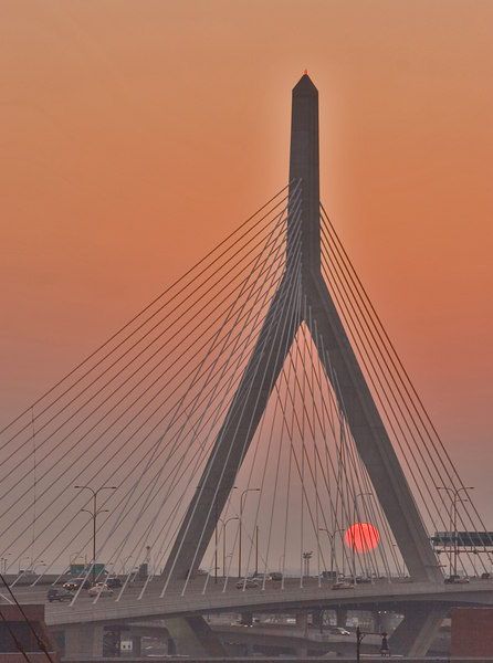 Leonard P Zakim Bunker Hill Bridge Sunset<br /> Boston<br /> © WEOttinger, The Wildflower Hunter - All rights reserved<br /> For educational use only - this image, or derivative works, can not be used, published, distributed or sold without written permission of the owner.
