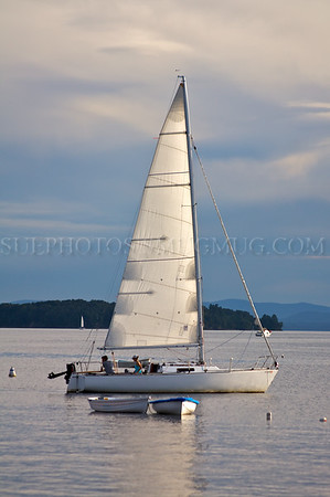 A sailboat on Lack Champlain.  Burlington, Vermont.