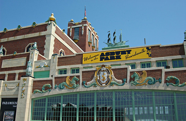Emporium building at far end of boardwalk, Asbury Park