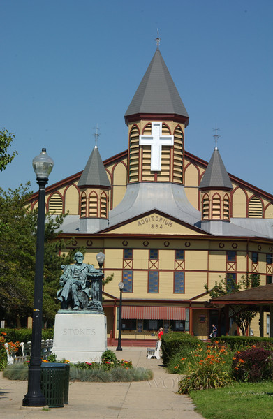 The Grand Auditorium of Ocean Grove with statue of Ellwood H. Stokes (Methodist pastor / town founder) in front
