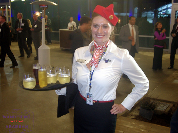 One of the waitresses working the party, in awesome retro gear